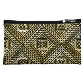 Gold Black Square Shapes Celtic Knotwork Pattern Cosmetic Bag