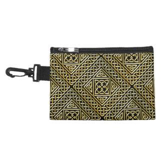 Gold Black Square Shapes Celtic Knotwork Pattern Accessory Bag