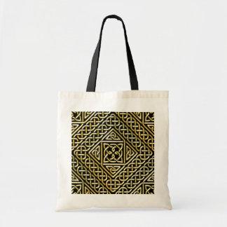 Gold Black Square Shapes Celtic Knotwork Pattern Canvas Bag