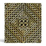 Gold Black Square Shapes Celtic Knotwork Pattern Binders