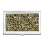 Gold Black Square Shapes Celtic Knotwork Pattern Case For Business Cards