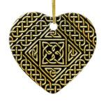 Gold Black Square Shapes Celtic Knotwork Pattern Ceramic Ornament