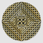 Gold Black Square Shapes Celtic Knotwork Pattern Classic Round Sticker