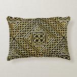 Gold Black Square Shapes Celtic Knotwork Pattern Decorative Pillow