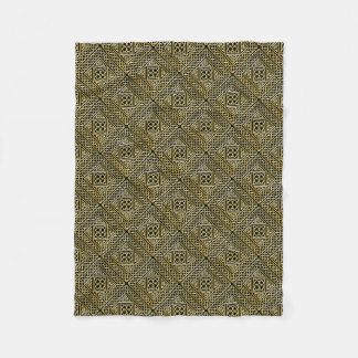 Gold Black Square Shapes Celtic Knotwork Pattern Fleece Blanket