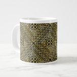 Gold Black Square Shapes Celtic Knotwork Pattern Giant Coffee Mug