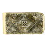 Gold Black Square Shapes Celtic Knotwork Pattern Gold Finish Money Clip