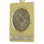 Gold Black Square Shapes Celtic Knotwork Pattern Gold Plated Banner Ornament