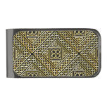 Gold Black Square Shapes Celtic Knotwork Pattern Gunmetal Finish Money Clip