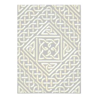 Gold Black Square Shapes Celtic Knotwork Pattern 5x7 Paper Invitation Card