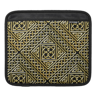 Gold Black Square Shapes Celtic Knotwork Pattern Sleeve For iPads