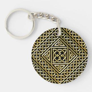 Gold Black Square Shapes Celtic Knotwork Pattern Keychain