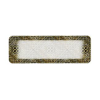 Gold Black Square Shapes Celtic Knotwork Pattern Label