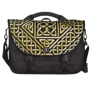 Gold Black Square Shapes Celtic Knotwork Pattern Laptop Bag