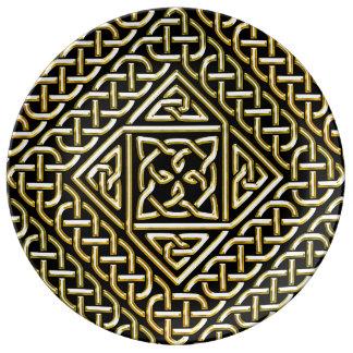 Gold Black Square Shapes Celtic Knotwork Pattern Porcelain Plate