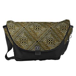 Gold Black Square Shapes Celtic Knotwork Pattern Courier Bag