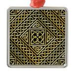 Gold Black Square Shapes Celtic Knotwork Pattern Metal Ornament