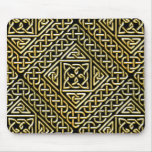 Gold Black Square Shapes Celtic Knotwork Pattern Mouse Pad