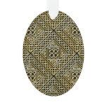 Gold Black Square Shapes Celtic Knotwork Pattern Ornament