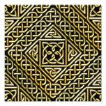 Gold Black Square Shapes Celtic Knotwork Pattern Photo Print