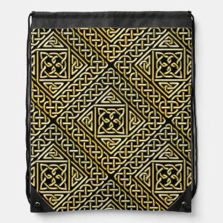 Gold Black Square Shapes Celtic Knotwork Pattern Backpack