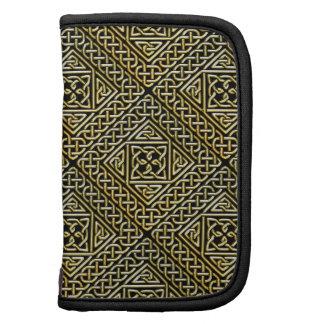 Gold Black Square Shapes Celtic Knotwork Pattern Planner