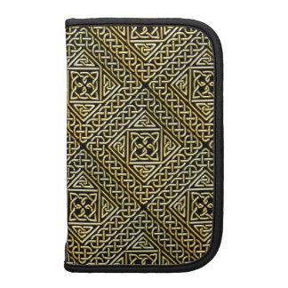Gold Black Square Shapes Celtic Knotwork Pattern Folio Planner