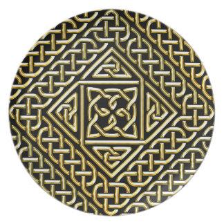 Gold Black Square Shapes Celtic Knotwork Pattern Dinner Plates