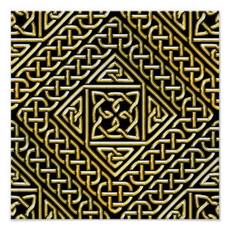 Gold Black Square Shapes Celtic Knotwork Pattern Poster