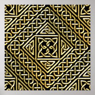 Gold Black Square Shapes Celtic Knotwork Pattern Print