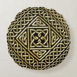 Gold Black Square Shapes Celtic Knotwork Pattern Round Pillow