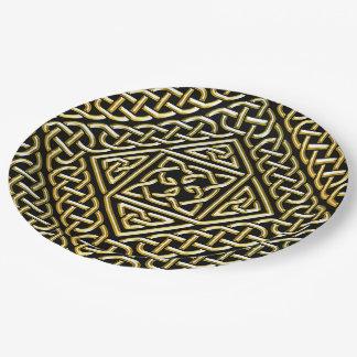 Gold Black Square Shapes Celtic Knotwork Pattern 9 Inch Paper Plate