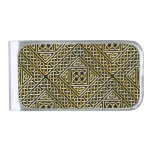 Gold Black Square Shapes Celtic Knotwork Pattern Silver Finish Money Clip
