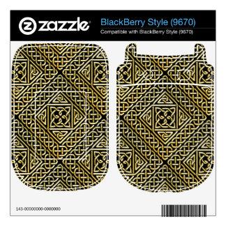 Gold Black Square Shapes Celtic Knotwork Pattern Skin For BlackBerry