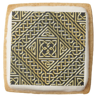 Gold Black Square Shapes Celtic Knotwork Pattern Square Shortbread Cookie