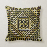 Gold Black Square Shapes Celtic Knotwork Pattern Throw Pillow