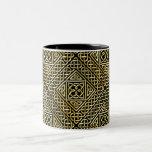 Gold Black Square Shapes Celtic Knotwork Pattern Two-Tone Coffee Mug