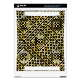 Gold Black Square Shapes Celtic Knotwork Pattern Xbox 360 Console Decal