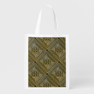 Gold Black Square Shapes Celtic Knotwork Pattern Grocery Bags