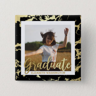 Gold & Black Stains Typography | Photo Graduation Pinback Button