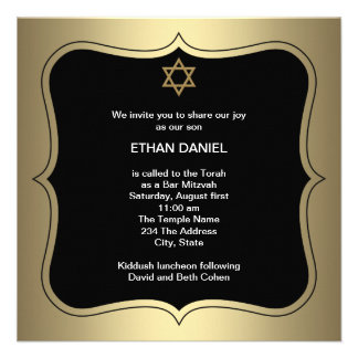 Gold Black Star of David Bar Mitzvah Personalized Announcements
