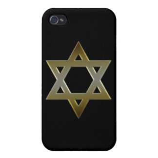 Gold Black Star of David  Cases For iPhone 4