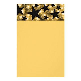 Gold Black Stars Stationery