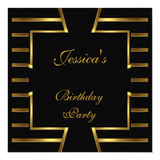 Gold Black Stripe Art Deco Birthday Party 5 Card