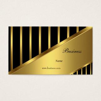 Gold Black Stripe Elegant Classy 3 Business Card