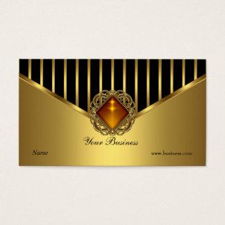 Gold Black Stripe Elegant Classy Business Card