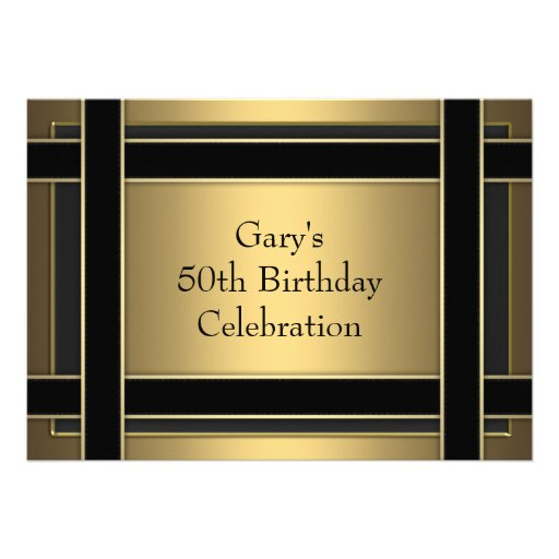 Gold Black Stripe Mans Gold 50th Birthday Party Personalized Invitations