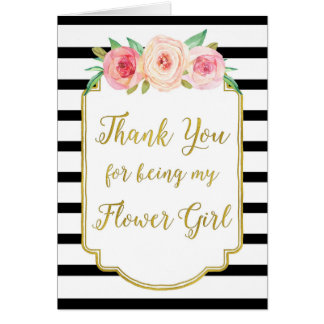 Gold Black Stripe Pink Thank You Flower Girl Card