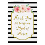Gold Black Stripe Pink Thank You Maid of Honor Card