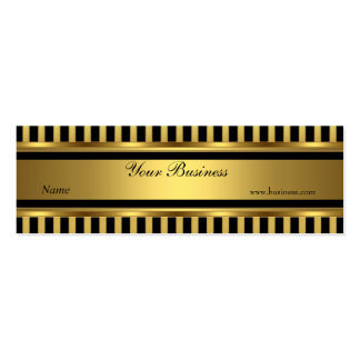 Gold Black Stripe Skinny Double-Sided Mini Business Cards (Pack Of 20)